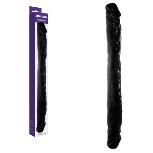 DILDO DOBLE REALISTICO KINX EIGHTEEN DOUBLE DONG NEGRO 45 CM